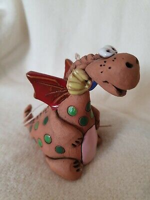 Cute Studio Pottery DRAGON BELL Model All Hand Made In Earthenware And Enamels • 14.95£