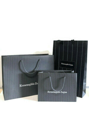 $20 • Buy Ermenegildo Zegna Paper Shopping Bags Lot Of 3 Different Sizes Empty Bags