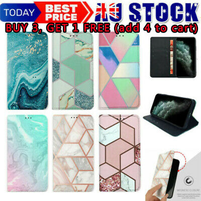 AU9.59 • Buy Marble Magnetic Flip Leather Wallet Stand Card Case Cover For IPhone 7 8 X XR 11