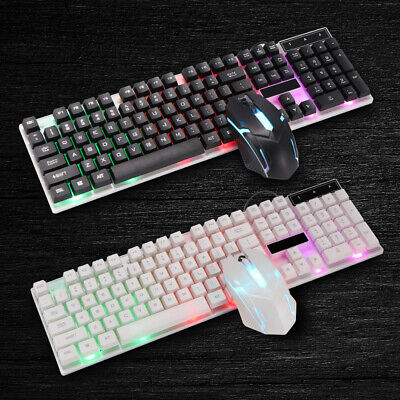 AU39.99 • Buy Gaming Keyboard And Mouse Set Rainbow LED Wired USB For PC PS4 Xbox One And 360