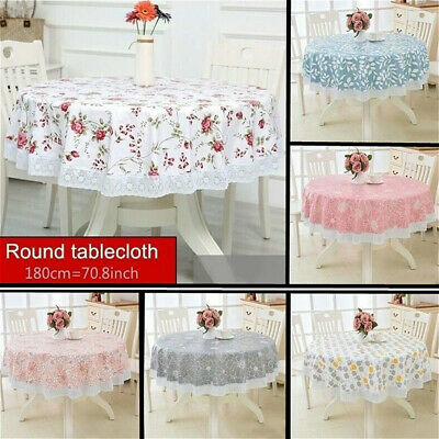 AU15.15 • Buy 180cm Round Floral Lace Tablecloth Large Table Cover Cloth PVC Home Dining Decor