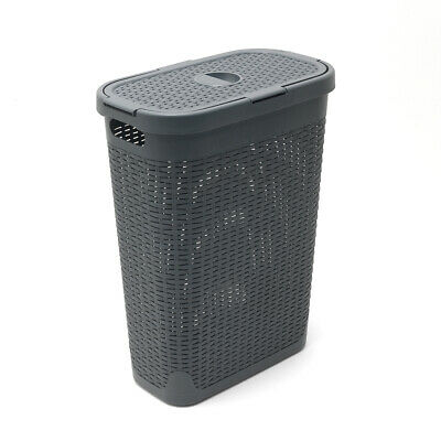 Addis Rattan 40 L Slim Laundry Clothes Wash Hamper Bin Charcoal Grey 517486ebay • 17.99£