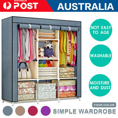 AU31.99 • Buy 1x Large Portable Canvas Wardrobe Clothes Closet Storage Organizer Shelves Unit
