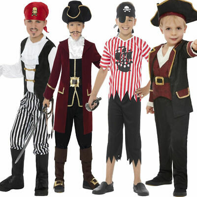 £9.99 • Buy Boys Pirate Costume Childrens Swashbuckler Kids Pirates Fancy Dress Outfit