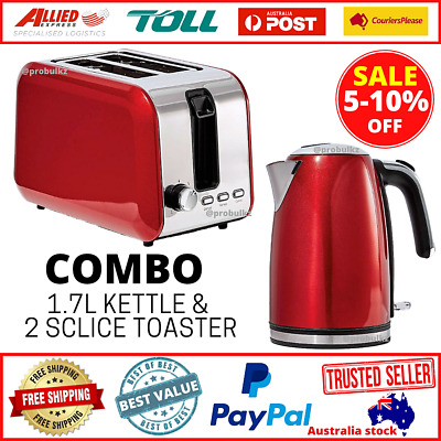 AU76.50 • Buy Combo RED Kettle 1.7L & Toaster 2 Slice Automatic Electric Set Stainless Steel