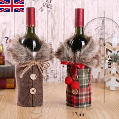 Fancy Santa Claus Outfit Christmas Wine Bottle Bag Cover Xmas Table Decor UK • 2.69£