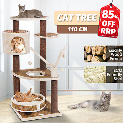 AU95.90 • Buy Cat Tree 110CM Scratching Post Scratcher Tower Condo Gym House Furniture Wood