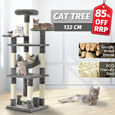 AU63.90 • Buy Cat Scratching Tree 132CM Scratcher Post Tower Condo Gym House Wood Furniture