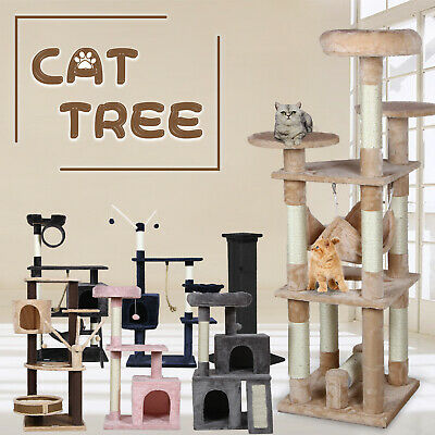 AU69.90 • Buy Pet Cat Tree Scratching Post Tower Condo Toy Lounge House Furniture Wood W/Pole