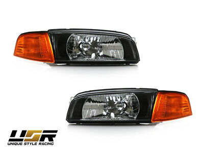 $214.95 • Buy JDM Black Headlight Amber Corner Light For 97-02 Mitsubishi Mirage 4D/Lancer EVO