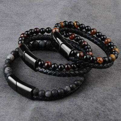 Fashion Men's Natural Stone Leather Bracelet Magnetic Clasp Tiger Eye Beaded • 2.99£