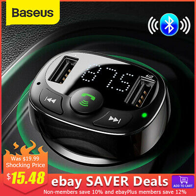 AU21.99 • Buy Baseus Handsfree FM Transmitter Wireless Bluetooth Car Kit MP3 Adapter Charger