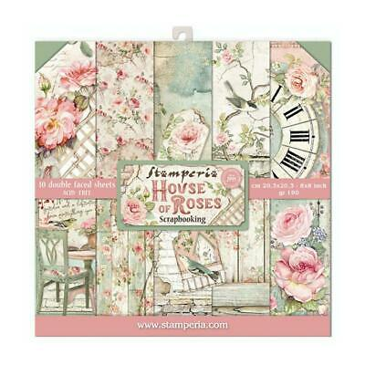 £8.45 • Buy Stamperia House Of Roses 8x8 Inch Paper Pack (SBBS08) For Scrapbooking