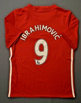 AU40.47 • Buy Ibrahimovic Manchester Jersey 2016 2017 Home 11-12 Y Youth Red Shirt Adidas Ig93