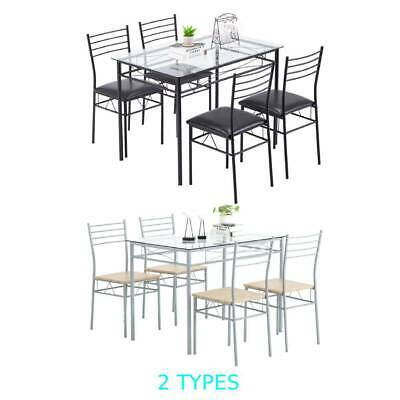 $136.95 • Buy Hot 5 Piece Metal Dining Table Set 4 Chairs Wood Home Dining Room Black/Silver