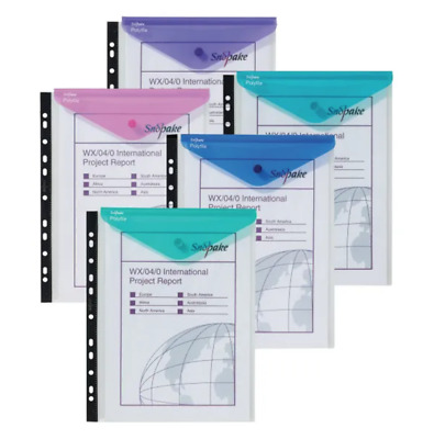 £11.39 • Buy 5 X  Snopake Polyfile Ring Binder Wallet A4 Electra Clear Assorted +Free 24h Del