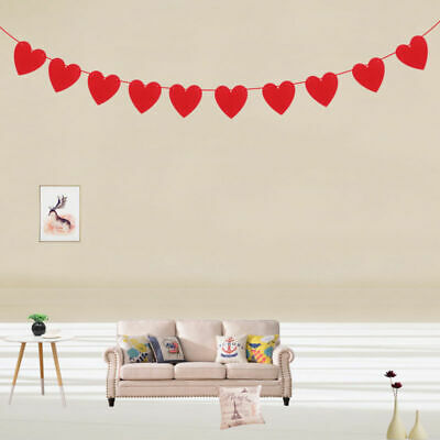 Red Love Heart Bunting Banners Garland Wedding Valentine's Day Birthday Decor • 1.84£