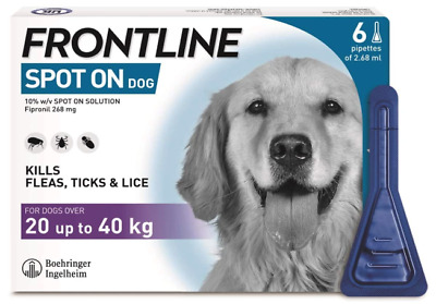 £30.95 • Buy FRONTLINE Spot On Flea & Tick Treatment For Large Dogs, 20-40 Kg - 6 Pipettes