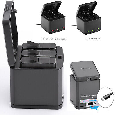 $ CDN28.61 • Buy Three Slots TELESIN Battery Charger Carrying Storage Case For GoPro Hero 8 7 6 5
