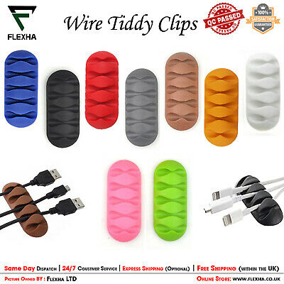 TIDY CLIPS Cable Cord Lead Desk Organiser USB Charger Holder Drop Self-Adhesive • 2.25£