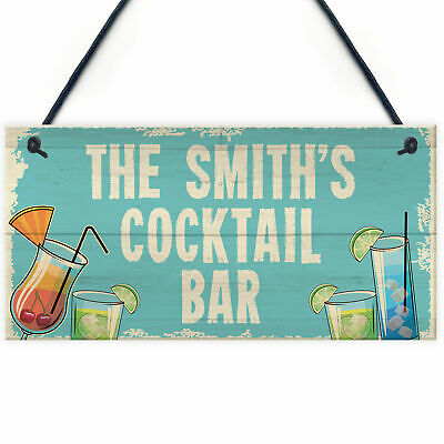 £4.99 • Buy Personalised Cocktail Home Bar Sign Novelty Alcohol Gifts Garden Kitchen Decor