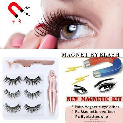 AU12.34 • Buy Magnetic Waterproof Eye Lashes With 3 Pairs Eyelashes + Tweezer + Eyeliner Set