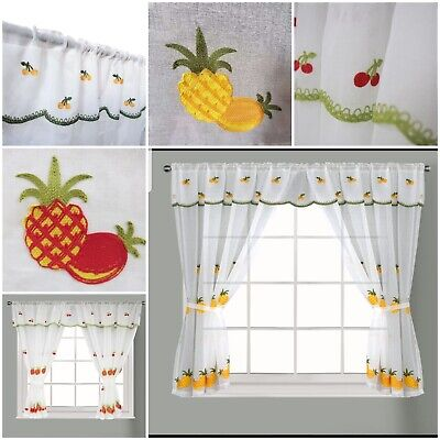 £14.95 • Buy New Kitchen Curtain Rod Pocket Attached Pelmet & Tiebacks Embroidered