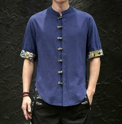 Mens New Chinese Style Linen Cotton Short Sleeve Tang Suit Shirt Summer Top SKGB • 14.09£