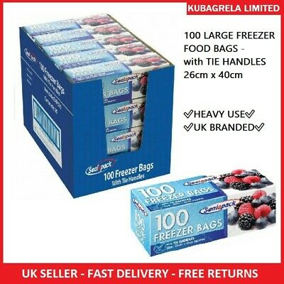 100 LARGE FREEZER FOOD BAGS - With TIE HANDLES 26cm X 40cm Fridge • 5.75£