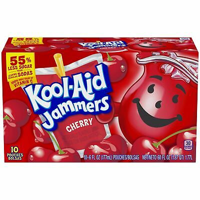Kool Aid  Koolaid Jammers - Cherry 10 Pouches X 177ml (6oz) Ready To Drink (USA) • 8.99£