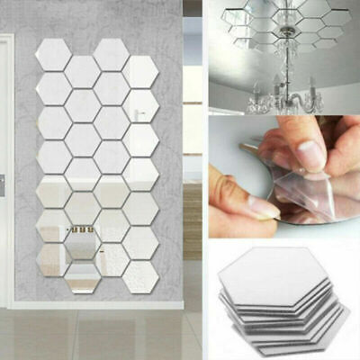 12X 3D Mirror Tiles Mosaic Wall Stickers Self Adhesive Bedroom Art Decal Home UK • 2.99£