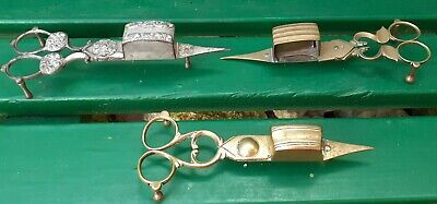 Victorian Antique Silver Plated Candle Snuffer/wick Trimmer Scissors & 2 Brass  • 22£