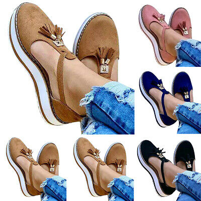 Casual Women Summer Tassel Closed Toe Slip On Flats Loafers Platforms Sandals 10 • 16.71£