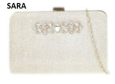 £4.99 • Buy Glitter Sparkle Gold Clutch Bag Hard Case Used Diamond Evening Wedding Party UK