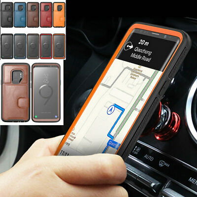 $ CDN13.39 • Buy For Samsung Galaxy Note 9 S9 Leather Slim Back Case Magnet Car Holder Cover