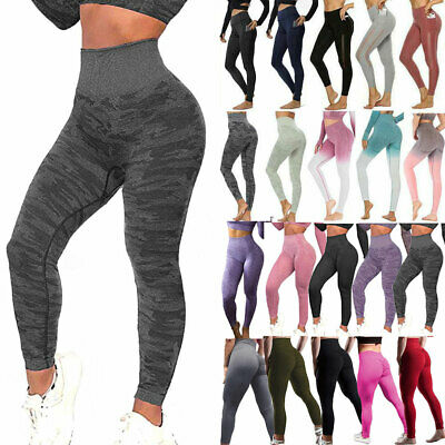 UK Womens High Waist Vital Seamless Gym Leggings Shark Fitness Sports Yoga Pants • 16.99£