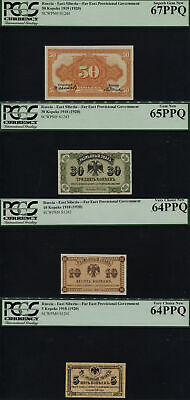 $82 • Buy Tt Pk S1241-s1244 1920 Russia East Siberia Set Of 4 Pcgs Gems Very Rare See Info