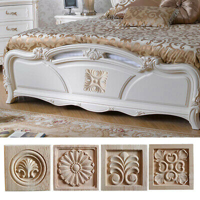 $6 • Buy 4PCS Wood Carved Decal Unpainted Onlay Applique Door Cabinet Home Decor Crafts