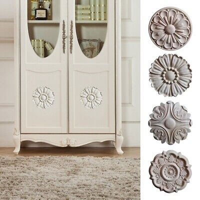 $8.30 • Buy 1PC Wood Carved Decal Round Onlay Applique DIY Unpainted Furniture Decor Craft