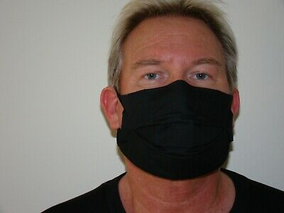 4 Ply Breathable Black Cotton Face Mask.  Flu/pollution/dust/virus. Washable. Uk • 6£