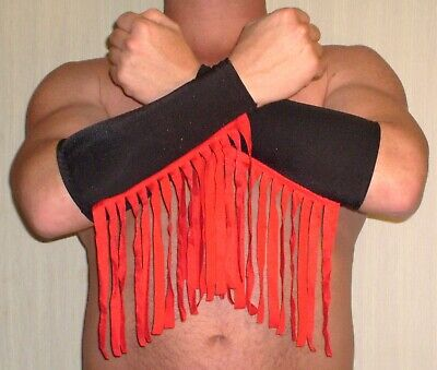 $34.99 • Buy Black Red Fringe Spandex Pro Wrestling Gear Fingerless Gloves