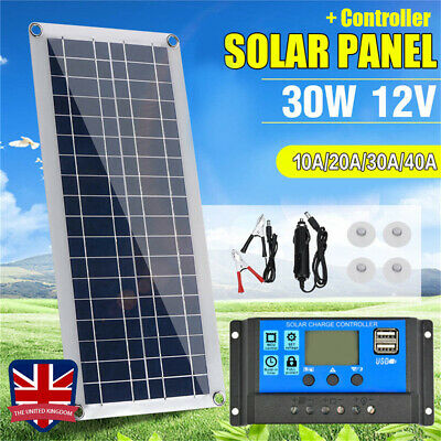 30W 12V Dual USB Flexible Solar Panel Battery Charger Kit Boat Car + Controller • 14.88£