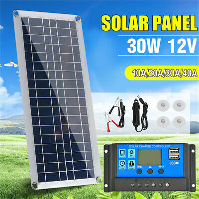 30W 12V Dual USB Flexible Solar Panel Battery Charger Kit Boat Car & Controller • 29.99£