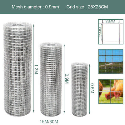 Galvanised 15m-30m Welded Wire Mesh Panel Steel Roll 1  Holes Metal Grid Fence • 32.95£