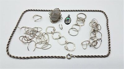 $ CDN14.49 • Buy Marked Or Tested Sterling Silver Scrap Lot W/Stones BT297
