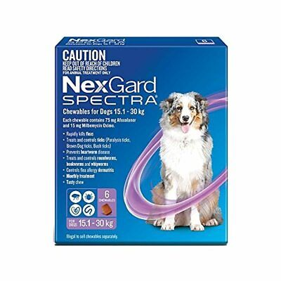 AU144.95 • Buy Nexgard Spectra - Flea, Tick And Worming Monthly Chew For 15.1-30kg Dog, 6 Pack