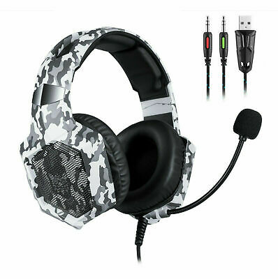 AU38.99 • Buy ONIKUMA K8 For PS4, PC, Xbox One Stereo Gaming Headset LED 3.5mm Camouflage Gray