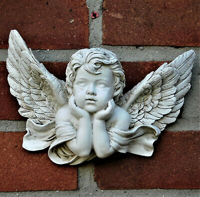 £14.99 • Buy Winged Cherub Wall Plaque Figurine Statue Baby Angel Wings Sculpture NEW IN