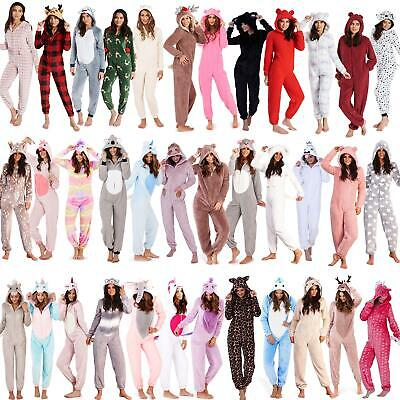 Ladies/Womens/Girls Fleece All In One Pyjamas Outfit Costume Hood Size 6-22 • 22.95£