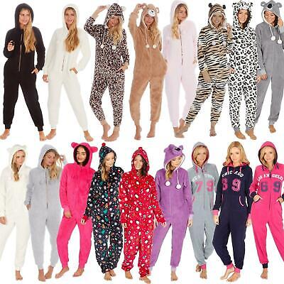 Ladies/Womens/Girls Fleece All In One Pyjamas Outfit Jumpsuit Costume Size 6-18 • 20.95£